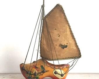 Dutch Shoe Sailboat, Vintage Wood Dutch Shoe With Sailboat As Is