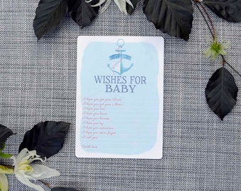 Printable Blue Anchor Baby Shower Activity- Wishes for Baby