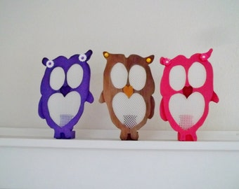 Hand Made  Owl Earring Holder Wooden Free Standing Valentine Gift for Her