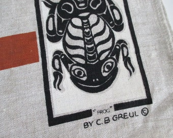 Irish Linen Tea Towel Northwest Indian Lore  C. B. Greul never used