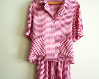 1980s Vintage 2 Pc Romper Set Top and Shorts Red and White Gingham Check, SALE