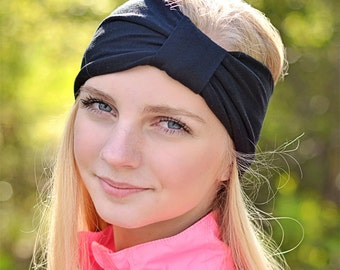 Wife Gift Turban Headband for Women Black Turban Headwrap Fashion Turban Ear Warmer Black Turband Headband Gift for Her (#1501) M