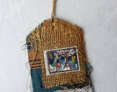 Boho, Shabby Chic, Rustic, Collaged Luggage Tag Key Chain, Vintage Fabrics, Textiles, Lace, Old Stamp