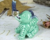 Elephant ring holder Lucky Elephant mint pastel jewelry Ring Holder Ceramic Green blue pottery Elephant Decor unique gift for her under 25