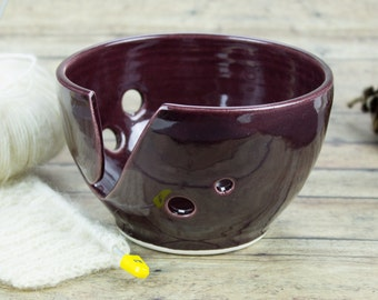 Yarn bowl, Knitting Bowl, Petite Eggplant purple Low Price cheap Small Ceramic Yarn holder, Inexpensive Crochet Portable bowl
