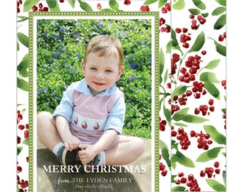 Watercolor Berries Christmas Vertical Photo Card | Select from Navy or White Background | Choose from Patterned Back or Photo Collage Back