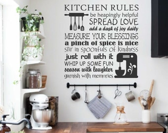 kitchen rules decal cooking collage vinyl wall lettering vinyl wall decals vinyl lettering vinyl letters wall quotes baking words