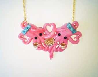 Tea for two. double octopus necklace. tea party necklace. one lump or two. pink. ooak necklace. cookies. porcelain tea set.
