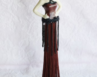 TASSEL HALF DOLL Flapper Lady Stand Red Burgundy Tassle Dress Black Lace Hat Rose Rosette Bead Art Deco Woman Women Ladies Decor Corset Girl