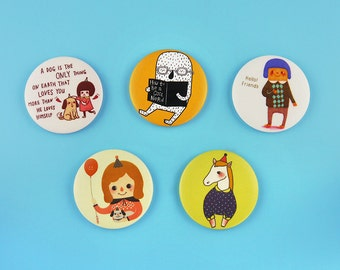 """Collection 2 - 1.75"""" or 3"""" Button Badges or Magnets - Encouragement Love Birthday Friendship Best Friend Pin Bdage - Happy Pinning"""