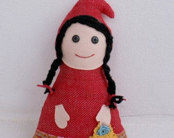 Red Riding Hood-handwoven softie, plush, pillow
