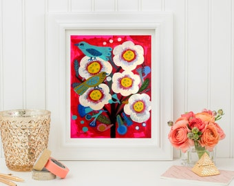 Spring is Coming -Art print, flowers, Bohemian Flower, folk, funky, naive, floral painting, Mexican.