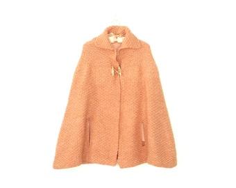 Vintage Poncho Coat * 1970s Crochet Cape * Wool Jacket * 70s Poncho * Small - Medium