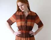 Striped sienna and chocolate vintage dress, medium