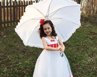 Mary Poppins Costume Dress: tutu dress up, tea party, red and white, dinner party, birthday, adjustable, meet & greet, parks trip, halloween