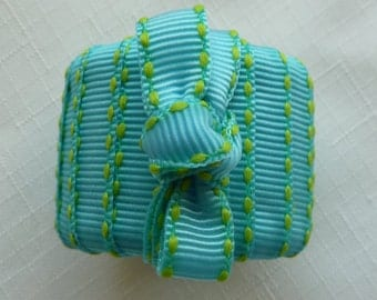Turquoise and Yellow Ribbon Napkin Rings - Set of 4