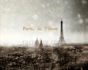 Paris Skyline Photograph - Eiffel Tower Print, Gold Silver Wall Art, Paris Je T'aime Text / Quote