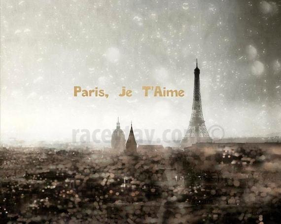 Eiffel Tower Prints, Paris Skyline Photo, Gold Silver Wall Art, Paris Je T'aime, Surreal Gold City Lights Paris City Skyline Print Gold Text