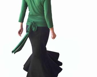 Black skirt, Long Skirt, Mermaid skirt, Cocktail skirt, Evening skirt, Womens skirts, Custom skirt, Jersey skirt, Retro fashion