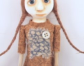 Cloth and paperclay folk art doll stick legs and arms ooak sculpted Neicy