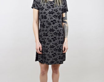 90s vtg Monochrome Black and White Grunge Mini Dress w Textured Flower Pattern