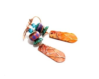 Boho Tribal Lampwork Bead Earrings. Long Dangle Earrings. Artisan Copper Metal Clay Charms. Gifts For Her. Lampwork Jewelry.