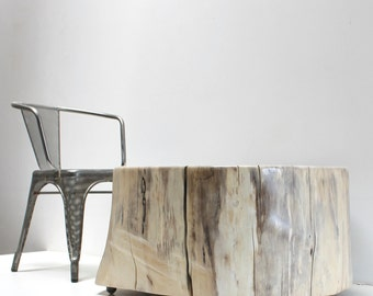 Tree Stump Coffee Table Grey Blonde
