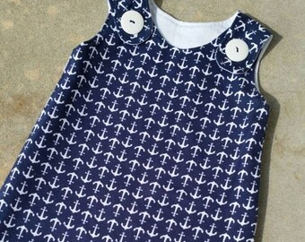 Mary Jane Sleep Sack - Cotton Knit - Navy and White Anchor