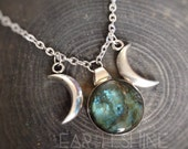 Labradorite Triple Goddess necklace Moon phase, wiccan jewelry