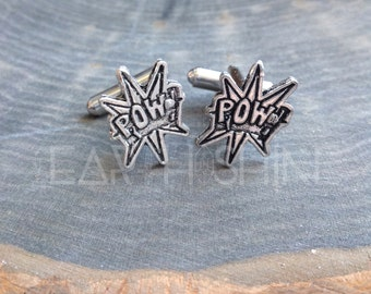 SALE POW superhero cuff links, Fathers Day Gift idea, sold per pair (leave QTY as 1)