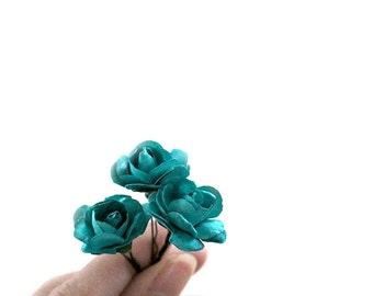 Teal Blue Bridal Rose (Rosie Posie design)(3 hair pins)  romantic pastel Rose Flower Rose Bobby Pins,Hair Clips for Wedding Hair updos