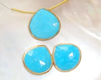 Pendant and Earring set Blue Turquoise Faceted Heart Briolette Vermeil Sterling Silver Bezel Rim Connector Pendant, 19-20mm
