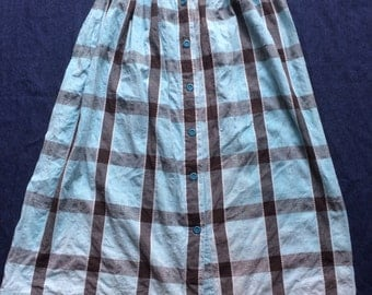 90s Faded Skirt / Nineties Checked Skirt / High Waisted Washed Out Button Skirt / Black and Blue