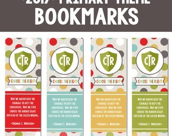 2017 LDS Primary Bookmarks-Choose the Right-Sharing Time-Primary DIY-Instant Download Printables