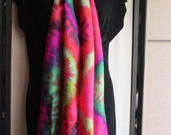 14x72 fuchsia, pink, and green silk scarf #2