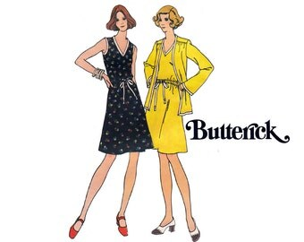 70s V Neck A Line Dress & Jacket Pattern Butterick 3530 Vintage Sewing Pattern Size 12 Bust 34 Inches