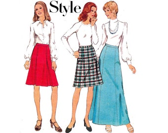 70s Panel Flared Maxi Skirt Pattern Style 4342 Vintage Sewing Pattern Size 12 Waist 26 1/2 inches