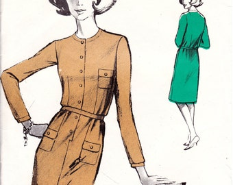 60s FRENCH Jardin Des Modes 8544 MOD Dress Pattern Bust 32 - 40 Inches UNCUT Factory Folds