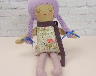 Malorie // Handmade Doll // Girl Gift // Birthday Gift // Rag Doll // Nursery Decor // Girls Room Decor // Purple Hair Girl