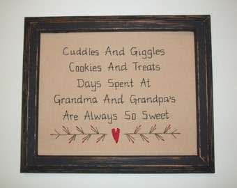 UNFRAMED Primitive Sampler Stitchery Picture New Baby Gift Idea For Grandma And Grandpa To Be Birth Announcement Present Decor wvluckygirl