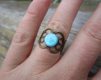 Blue Opal Brass Ring Adjustable Size