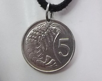 Cayman Islands Coin Necklace, 5 Cents, Coin Pendant, Leather Cord, Mens Necklace, Womens Necklace, 1990