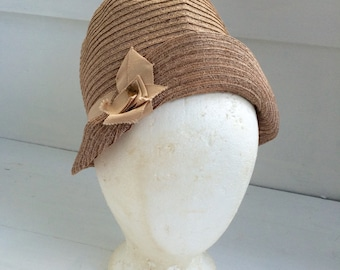 Art Deco Cloche Hat Childs Childrens Very Small Girls Doll Vintage