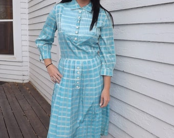 50s Blue Plaid Dress Print 1950s Vintage Toni Todd S M 36 Bust