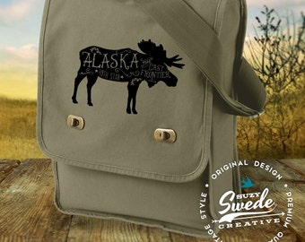 Alaska Moose Canvas Field Bag, Sling Bag, Messenger Bag, Travel Bag
