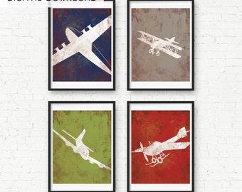 Vintage Airplane Print Wall Decor- Digital Download - Childs Room Airplane Nursery Wall Art