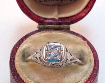 Antique Art Deco 18k White Gold Filigree Solitaire Ring - Sz 5 3/4
