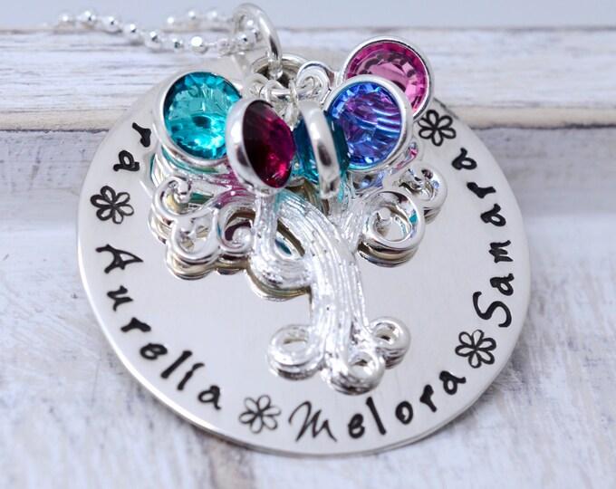 Elegant Family Tree Necklace, Grandma Necklace, Birthstones Necklace for Grandma, Family Tree Necklace For Mom, Grandmother Tree Necklace