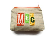 MTC - Montclair NJ - Ransom Notes Zipper Pouch - Repurposed Tshirts and Denim Jeans - Coin Purse - Makeup Bag - Ready to Ship