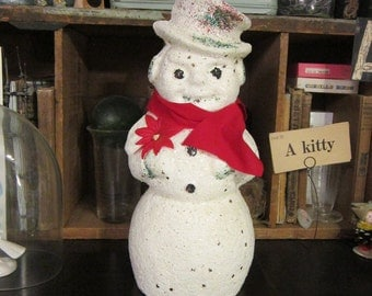 large vintage paper mache SNOWMAN candy container - 12.5 inches - glass glitter, rare paper mache form - vintage Christmas
